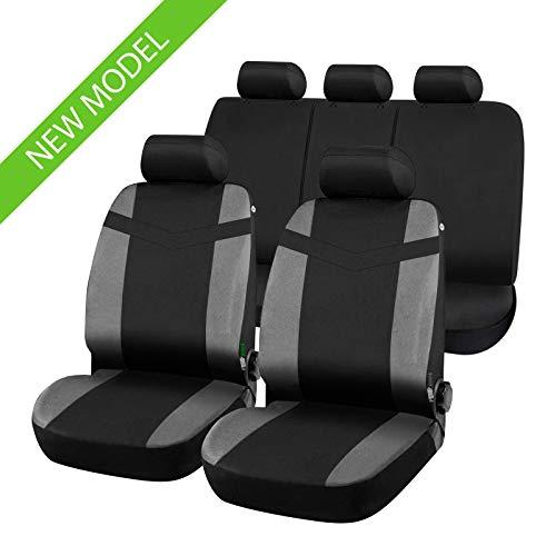 rmg-distribuzione Coprisedili per Auto 5 posti, Set Copri sedili con Aperture per poggiatesta, Cinture di Sicurezza Posteriori, bracciolo Laterale, airbag sedili Anteriori