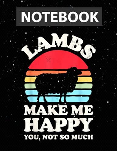 Lambs Make Me Happy Funny Lamb Retro Vintage Farmer Farm / Notebook Journal Line / Large 8.5''x11''