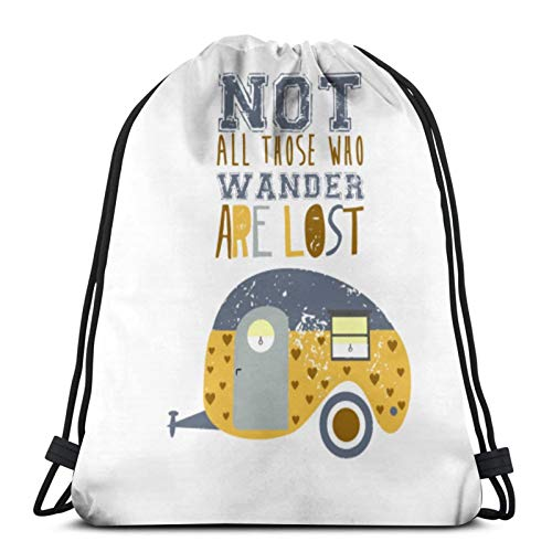 Affordable shop Not All Those Who Wander Are Lost Drawstring Backpack Sport Bags Cinch Tote Bags For Traveling And Storage For Men And Women 17X14 Inch