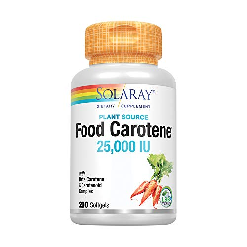 Solaray Food Carotene, Vitamin A as Beta Carotene 25000IU | Carotenoids for Healthy Skin & Eyes, Antioxidant Activity & Immune System Support | 200ct
