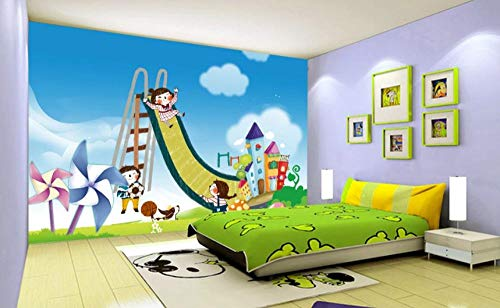 Wall Mural Children's Amusement Park Windmill Photo Wallpaper Non-Woven Modern Giant Poster Picture HD Print Wall Art Stickers Decal for Bedroom Living Room Office Kitchen Decoration 200 x 140 cm