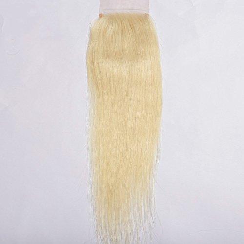 Cheveux humains vierges raides de 10,2 x 10,2 cm avec fermeture frontale en dentelle soyeuse de 20 à 50,8 cm - Nœuds décolorés - Cheveux de bébé - Couleur blond miel