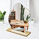 Irregular Aesthetic Vanity Mirror, Frameless Acrylic Decorative Desk Tabletop Mirror with Wooden Stand Funky Makeup Mirror for Living Room Bedroom and Minimal Spaces Home Decor (Cloud Shape)