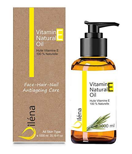 Aceite de vitamina E (tocoferol) 100% natural Vegano, Cuidado facial antienvejecimiento, Desmaquillador waterproof, Cuerpo y cabello, Uñas y cutículas, Hidratante reparador para manos (1000 ml)