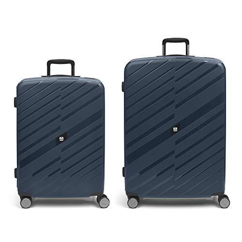 Gabol - Sendai | Blue Rigids Travel Suitcase Set with Medium Trolley and Large Trolley