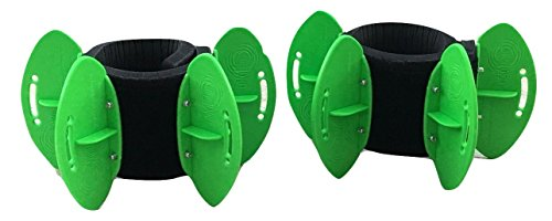 AquaLogix Green Low Resistance Aquatic Fins - Omni-Directional Water Resistance Exercise for Lower and Upper Body Pool Fitness Programs - Includes Online Demonstration Video (Fins Pair LRGBLS)