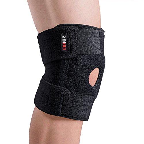1DOT2 Sport Kniebandage rutschfest Kniestütze Knieschoner atmungsaktiv zum Laufen Outdoor mit Klettverschluss Kniegelenkschutz Knieschmerzenlinderung für Damen Frauen Männer schwarz XL 40-45cm