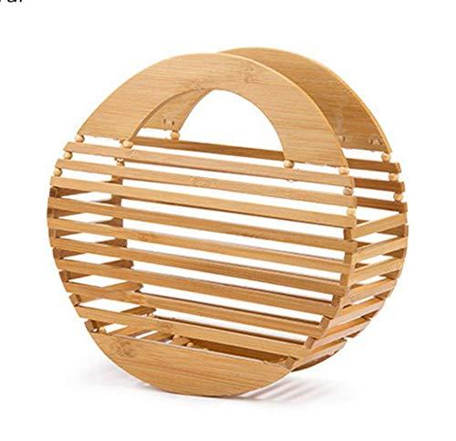 MMADD Reines handgewebte Bambus-Beutel-Hand Bambus Handwerk Bambus Root Tasche Handtasche