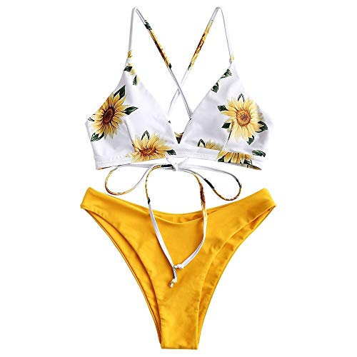 ZAFUL Damen Sonne Mond Stern Print Bikini Badeanzug Crossover Zweiteiliger Bikini Set Lace Up Bademode - Blau - Small