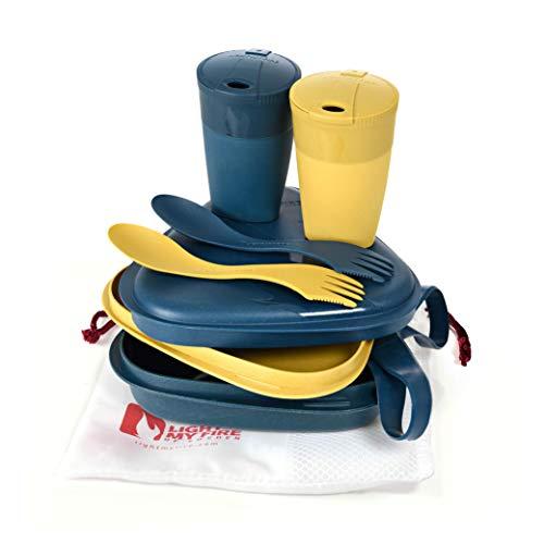 Set de pique-nique Light My Fire - PACK'N EAT KIT BIO - Set de vaisselle réutilisable, couverts et bocaux de rangement pour 2 personnes - 8 pièces - Fabriqué en Suède - Assiettes de camping et bols
