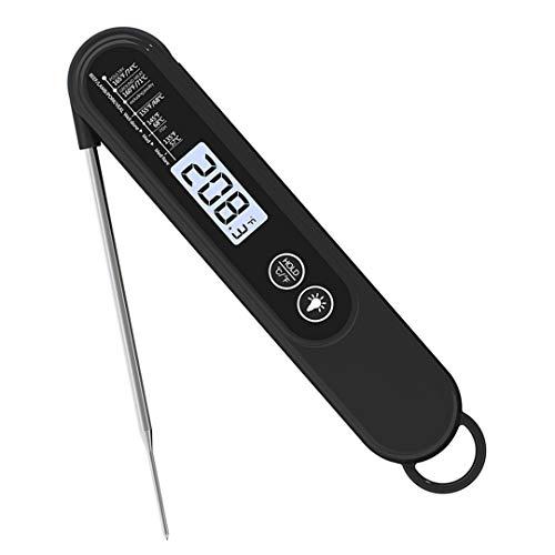SWCEN Sonde Pliante Rétro-Éclairage Thermomètre Maison Extérieur Barbecue Température Comptage Affichage Alimentaire Cuisine Thermomètre,Noir