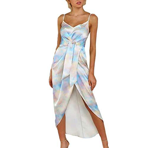 Auifor Damen Tie-Dye ärmelloses Kleid unregelmäßige Verband Mode O-Ausschnitt Split Knie-Länge Vintage Midi Kleid(Blau,XX-Large)