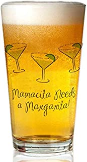 Transparent glass beer mug - 2-Mamasitamargarita.Png Pint Glass,16 oz. Drinking Glass– Elegant design for the home and kitchen – lead free and BPA