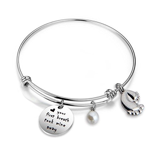 bobauna Your First Breath Took Me Away Bracelet New for New Mom Jewelry (New mom Bracelet)