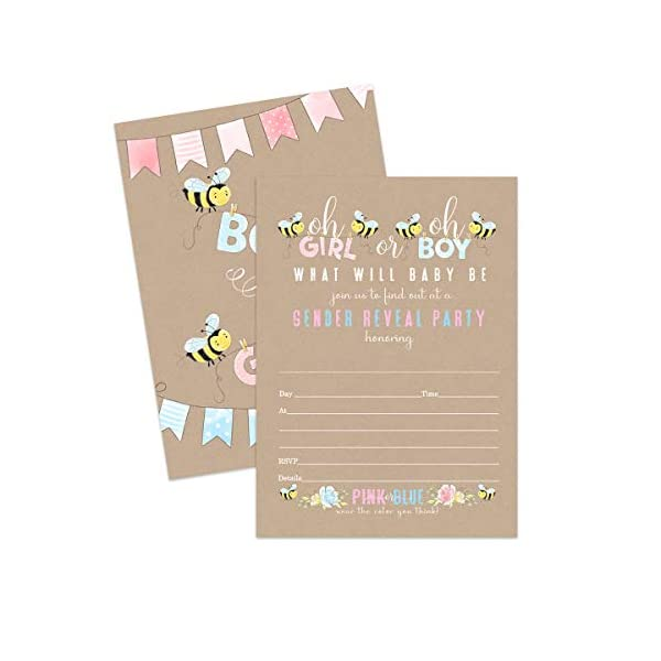 Baby Bee Gender Reveal Party Invitations (25 Cards) Cute Bumblebee Theme – Pink or Blue – Baby Shower – Surprise Sprinkle – Fill in Blank Style Invite Cards and Envelope Set DIY