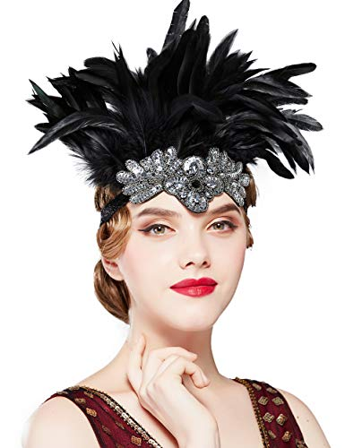 Coucoland Feather Carnaval Headdress 1920's Feather Hoofdband Carnaval Hoofdband Zwart Haaraccessoires Pageant Party Hoofddeksels Zwart Zilver
