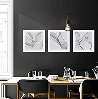 SkywardArt Canvas Wall Art for Living Room Line Painting Black and White Abstract Pictures - Big Modern Prints - 3 Panel Canvas Wall Art for Bedroom (12x16inch Abstract Line)