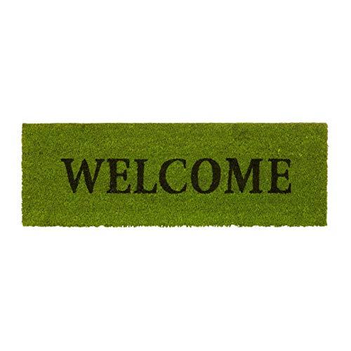 Relaxdays Fußmatte schmal Welcome als Kokos Fußabtreter mit rutschfstem Gummi PVC Türmatte optimal für Balkon Terrasse Flur Veranda Haustür Eingangsmatte und Kokosmatte HBT: 1,5 x 75 x 25 cm, grün