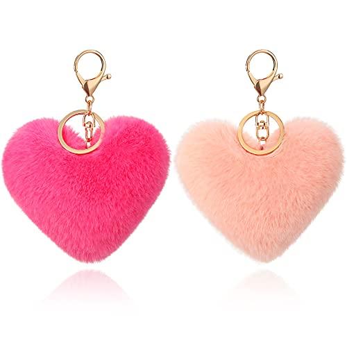 Hicarer 2 Piezas Llaveros de Pompones de Corazón Llaveros de Pompones de Imitación Esponjosos Adorno Llavero de Felpa Suave Accesorio Colgante para Señoras Niñas Mujeres (Rosa, Rosa Roja)
