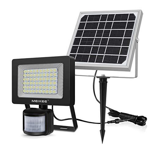 Solar Strahler mit Bewegungsmelder, MEIKEE 60 LED Solarlampe Außen Strahler Sensor IP66 Wasserdicht Solarleuchte 400LM für Garten Garage Patio Terrasse