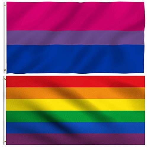 WWmily 2er-Pack/Set Regenbogenflagge und Bisexuelle Pride-Flagge mit Messingösen für Innen- und Außenbereich, Haus/Hof, Veranda, LGBT-Banner für Pride Gay/Lesben