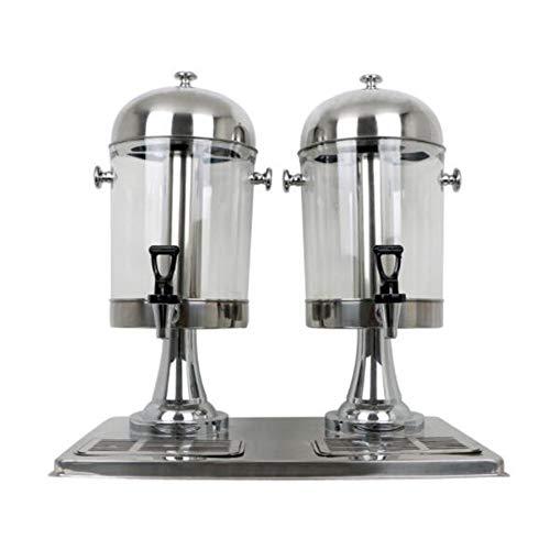Dispensador de Bebidas para Bebidas Jugo de doble cabezal de distribución de acero inoxidable de autoservicio jugo de la máquina Máquina Dispensador de Cerveza ( Color : Silver , Size : 57x35x60cm )