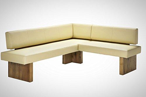 Naturnah Möbel Eckbank Summer aus bestem Leder und Massivholz Wildeiche. Nachhaltig produziert. (225 x 175 cm, Sand)