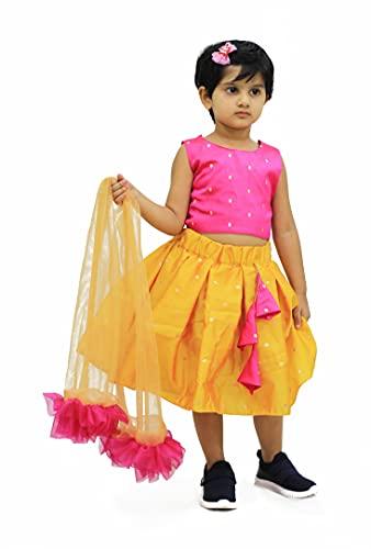 MVD Fashion Girl's Cotton Full Stitched Readymade Lehenga Choli 3-4 year (Diwali-02, Rani-Mustard)
