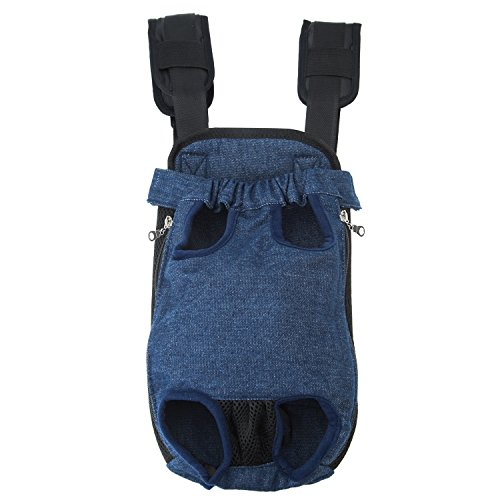 GEEPET Legs Out Front-Facing Dog Carrier Hands-Free Adjustable Pet Puppy Cat Backpack Carrier for Walking Hiking Bike and Motorcycle (Large, Denim Blue)