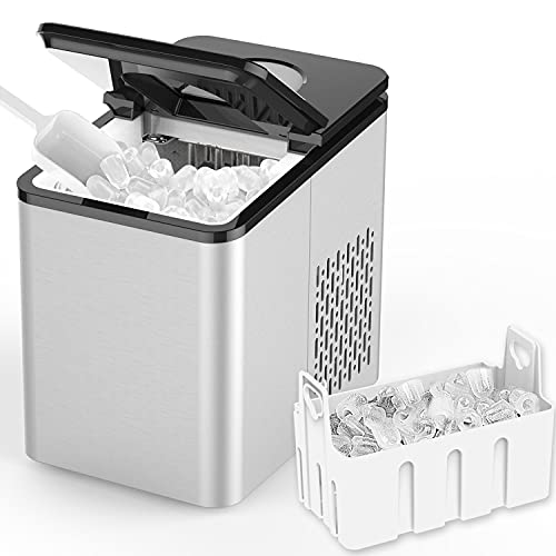 SOOPYK Ice Makers Countertop   Portable Ice Maker Cube   27 lbs in 24 hrs   9 Ice Cubes Per 5-7 Mins   Ice Maker Machine   Self- Cleaning Function   Ice Scoop and Basket,Stainless Steel