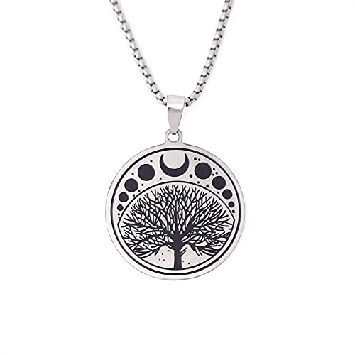 SACINA Gothic Celtic Tree of Life Necklace, Stainless Steel Tree of Life with Moon Phase Pendant, Goth Celtic Jewelry Gift for Women, Men