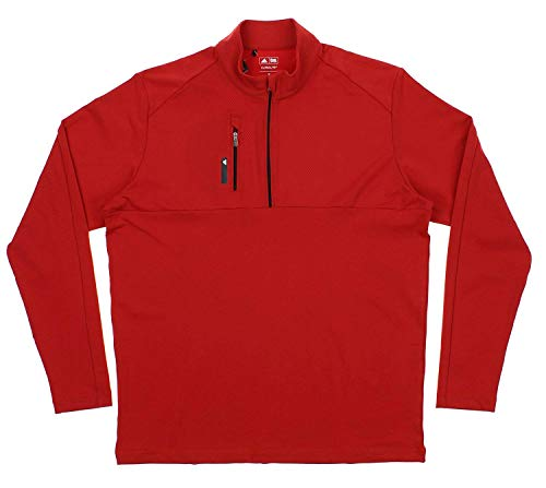 adidas Men's Performance 1/2 Zip Pullover Sweater, Red Medium