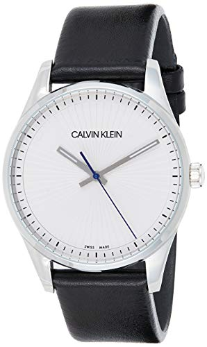 Calvin Klein Herren Analog Quarz Uhr mit Leder Armband K8S211C6