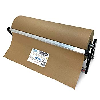 IDL Packaging PD-100 Paper Roll Dispenser & Cutter for up to 24  Width and 10  Diameter Rolls – Horizontal Tabletop Paper Holder – Sturdy Steel Dispenser with Cutter for Kraft or Butcher Paper