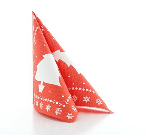 Sovie Home Serviette White Tree in Rot | Linclass® Airlaid | Weihnachten Tannenbaum Schneeflocken | 40x40 cm,12 Stück