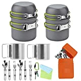 Bisgear 20pcs Camping Cookware Stove 17oz Stainless SteelCups Cutlery Mess Kit for 2 Person - Backpacking Pot Pan with Fork Knife Spoon Flatware & Carry Bagfor Outdoor Hiking and Picnic