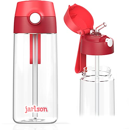 JARLSON Borraccia Bambini, Bottiglia 500 ml, Senza BPA, Bottiglia Acqua con Cannuccia, per la scuola e l'asilo, realizzato in plastica di alta qualità (rosso)