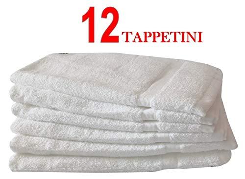 Menitashop Tappeto Tappetino Bagno SCENDIDOCCIA in Spugna 100% Cotone per Hotel ALBERGO B&B (12 Tappeti Scendidoccia)