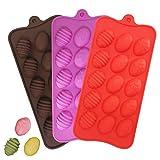 YuCool - Moldes de silicona de huevo de Pascua, 3 unidades de moldes de silicona con 15 cavidades para gelatina de chocolate, cubitos de hielo, rojo, rosa, chocolate