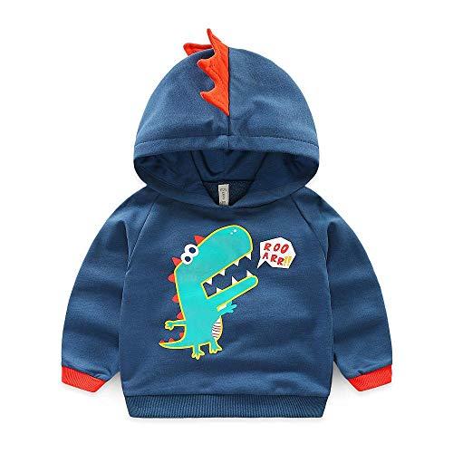 XIELH Ropa para Niños Otoño Niños Casual Dibujos Animados Pequeño Dinosaurio Estampado Chaqueta Niños Sudadera con Capucha Chaqueta para Niños, Azul Marino, 100 Cm
