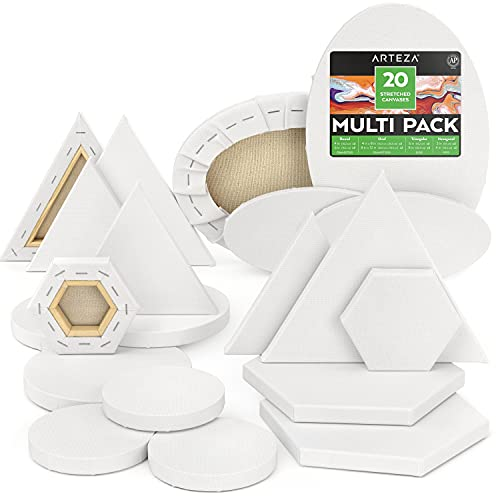 ArtezaStretched Canvas, Multipack of 20, Round, Oval, Triangle, and Hexagonal Shapes, 100% Cotton, 8 oz Gesso-Primed Blank Canvases, Art Supplies for Acrylic Pouring and Oil Painting