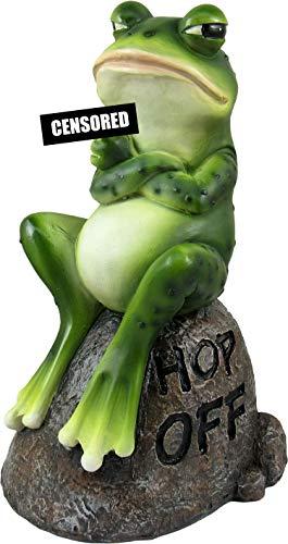 DWK – Froggie's Bad Day – bezaubernde Figur für drinnen und draußen, Frosch auf Stein mit Hop Off-Nachricht, Mittelfinger Figur Grumpy Toad Home Decor Akzent Garten Terrasse Zubehör, 19,7 cm