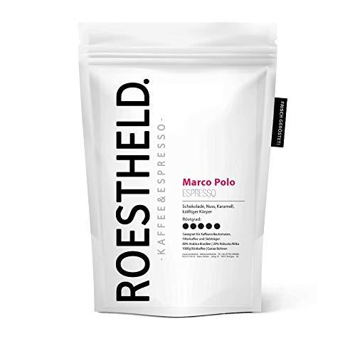 ROESTHELD. Marco Polo Espresso - 80% Arabica und 20% Robusta - Ganze Bohnen - 1KG - nachhaltig & fair - Handarbeit in Kleinstmengen