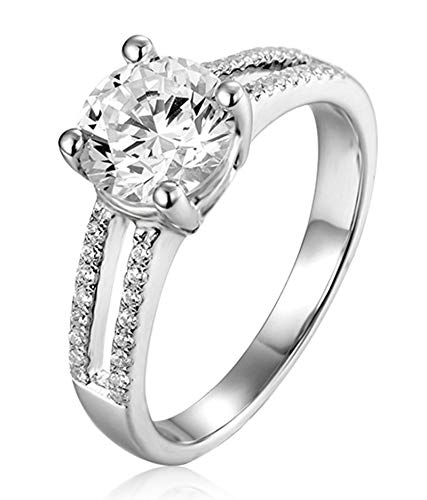 AtHomeShop 925 Sterling Silver Rings for Women, White Cubic Zirconia Confidence Ring, Elegant Engagement Rings, Women's Rings, 4 Bridge Claw Setting, Real Gold Jewellery with Jewellery Box silver