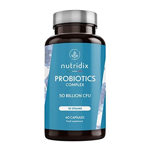 Probiotici 50 Miliardi di UFC per dose | 10 Ceppi di Cellule Vive | 60 Capsule Vegetali Gastroresistenti | Probiotici Complex | Prodotto da Nutridix