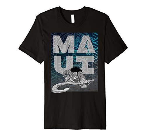 Disney Moana Maui Tattoo Style Letter Stack Portrait Premium T-Shirt
