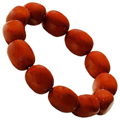 Kaltner Präsente cadeau-idee - nugget armband van edelsteen jaspis rood (stretch band)