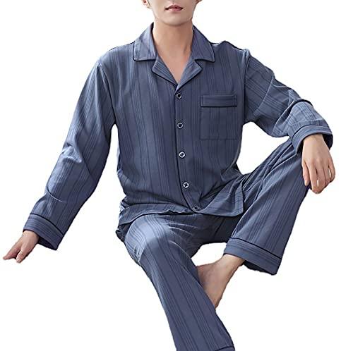 YZJYB Herren Zweiteiliger Schlafanzug Hausanzug Baumwolle Lange Ärmel Pyjama Set Knopfleiste Komfortabel Nachtwäsche,XL