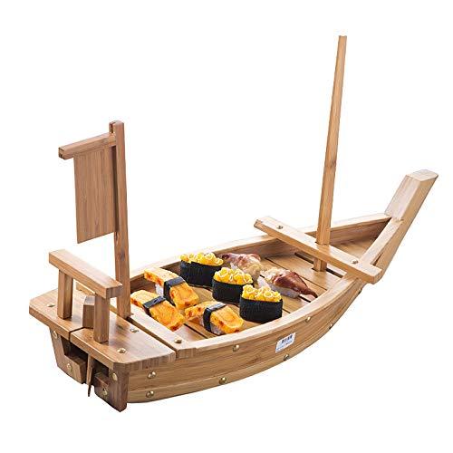 200cm Ultra Grande Barco De Sushi Bandeja De Servicio Desmontable Plato De Madera Para Sashimi Japonés Barco De Exhibición Para Restaurante O Uso Doméstico (Bambú Carbonizado)