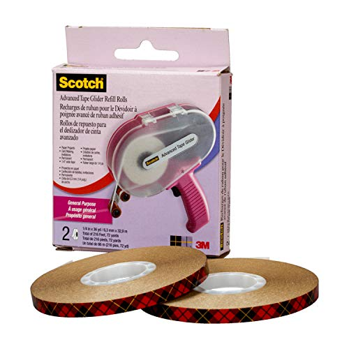 "Scotch 64258 Acid Free Advanced Tape Glider, Applicator with 2 Rolls of 1/4"" Tape, Pink"